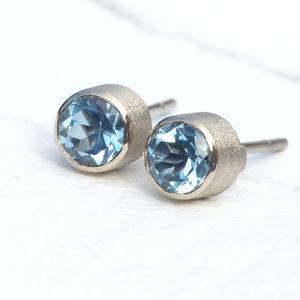 Aquamarine Stud Earrings In 18ct White Gold - earrings