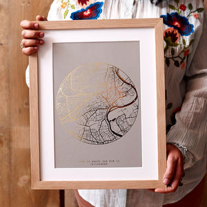 Metallic Personalised Map Print - best mother's day gifts