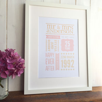 Personalised Silver Wedding Anniversary Print