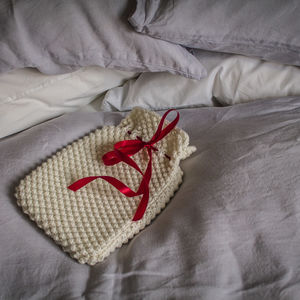 Hand Knit Hot Water Bottle In Snow White