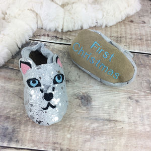 Personalised Snow Leopard Baby Shoes - shoes & footwear