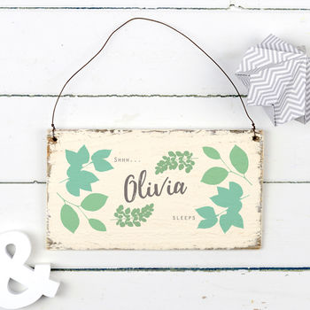 Personalised Wooden Baby Sign