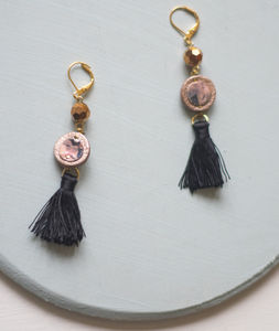 Galactic Marbled Leather Tassel Drop Earrings