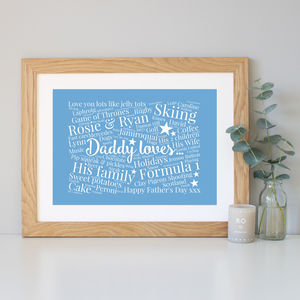 'Daddy Loves' Personalised Word Art Print