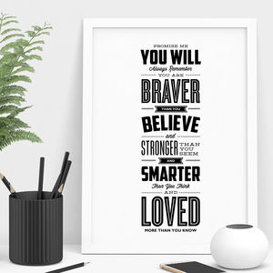 'You Are Loved More Than You Know' Typography Print - winter sale