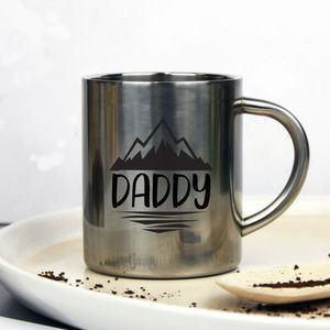 Personalised 'Dad' Adventure Silver Mug - whatsnew