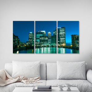 Canary Wharf Triptych Canvas Wall Art
