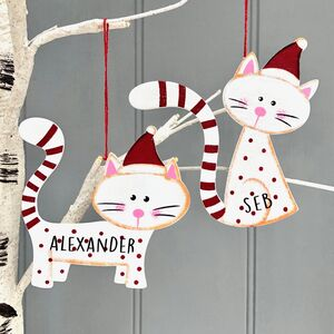 Personalised Wooden Cat Christmas Decoration