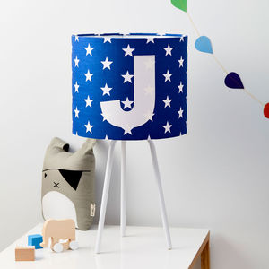 Boys Personalised Star Alphabet Handmade Lampshade - children's lighting