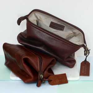 Personalised Genuine Leather Washbag - wash & toiletry bags