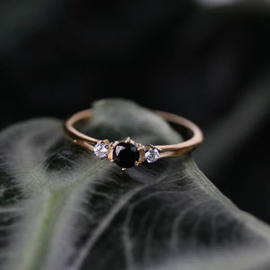 Black Spinel Trilogy Vintage Style Ring Silver Or Gold