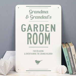 Personalised Garden Room Metal Sign - gifts for grandparents