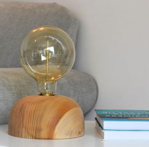 Woolacombe Cedar Wood Table Lamp With Edison Light Bulb - table & floor lamps