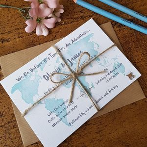Watercolour Travel Wedding Invitation Bundle