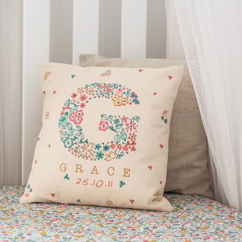 personalised floral letter name cushion