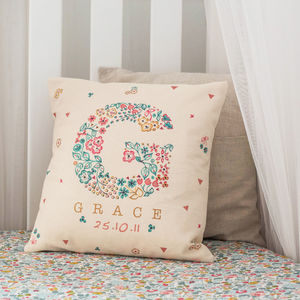 Personalised Baby Name Floral Cushion - bedroom