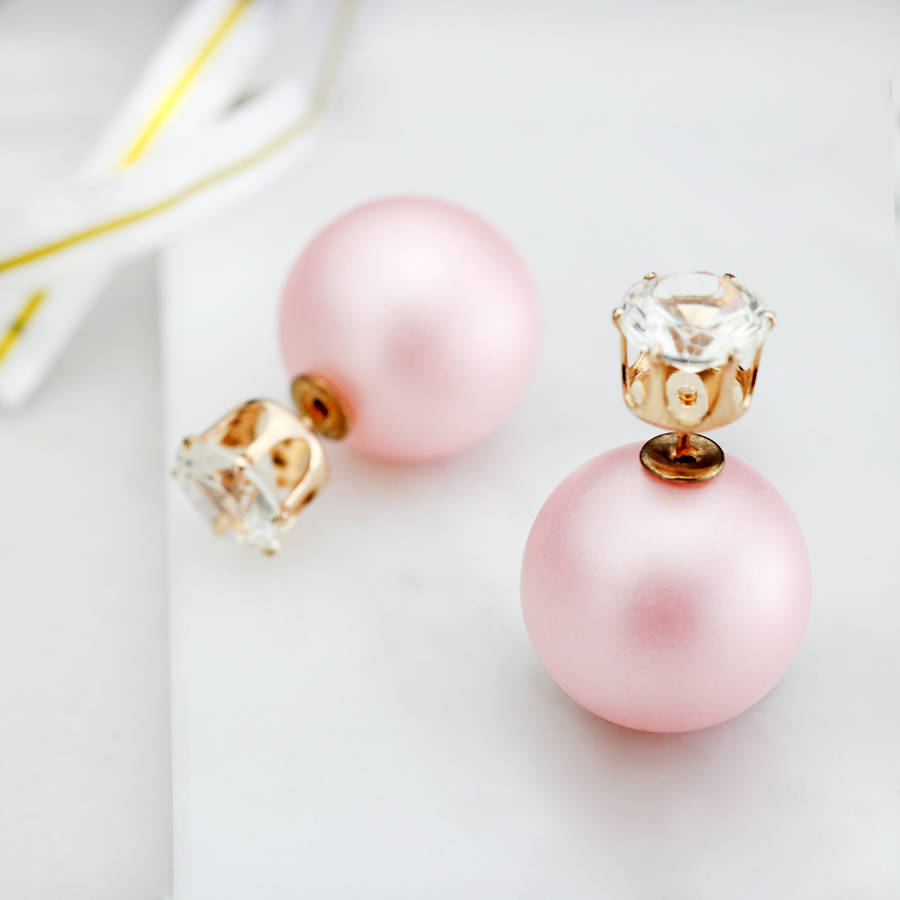Crystal Double Sided Pearl Earrings