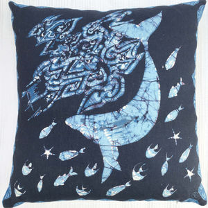 Linen Batik Cushion, Blue Whale - cushions