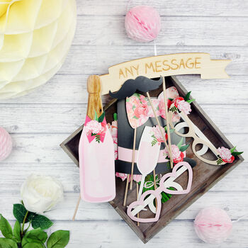 Pink Floral Personalised Wedding Photo Booth Props