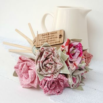 Handmade Wood Anniversary Flowers With Engraved Tag