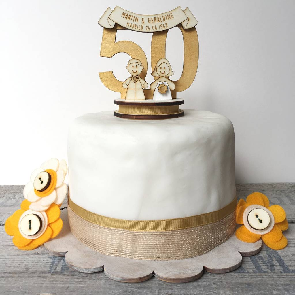 50th Wedding Anniversary Cakes.Personalised 50th Wedding Anniversary Cake Topper