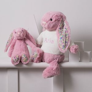 Personalised Blossom Rose Pink Bunny Soft Toy