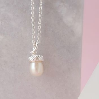 Sterling Silver Tiny Pearl Acorn Pendant