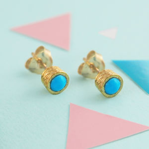 Gold Round Turquoise Birthstone Textured Earrings - earrings