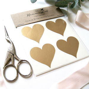Gold Heart Decorative Stickers - diy stationery