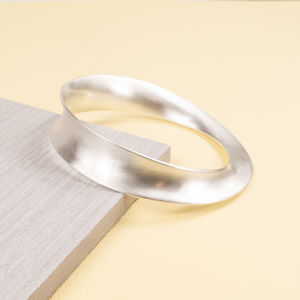 Large Silver Concave Twist Bangle - bracelets