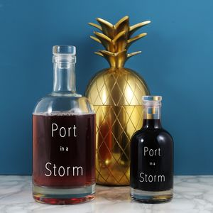 Etched 'Port In A Storm' Etched Alcohol Decanter