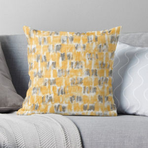 Mustard And Grey Modern Cushion