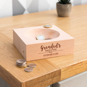 Personalised Pennies And Pounds Wooden Coin Tray - cufflink boxes & coin trays