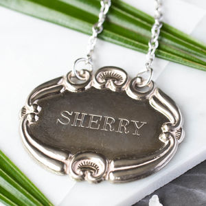 Vintage Silver Sherry Bottle Label - glass charms