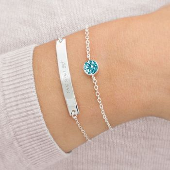 Personalised Bar And December Birthstone Bracelet Set