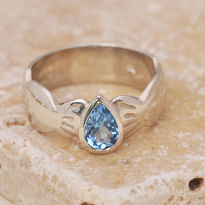Blue Topaz Pear Shape Ring - rings