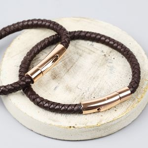 Personalised Men's Brown Leather Bracelet - for her