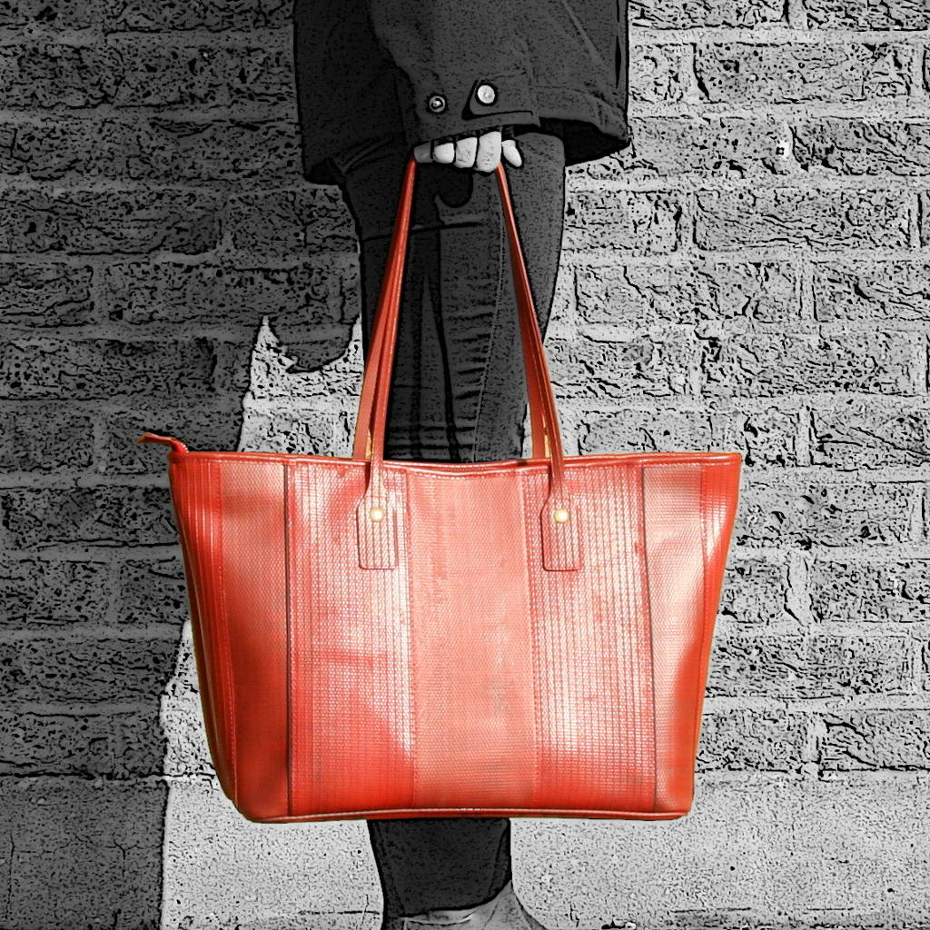 b6b9906ada6 reclaimed fire hose tote bag by elvis & kresse | notonthehighstreet.com