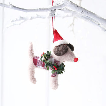 Felt Terrier With Wreath Hanging Decoration