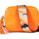 Orange Leather Handbag With Interchangeable Strap