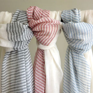 Hand Woven Ethiopian Cotton Striped Scarf - scarves
