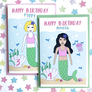 Mermaid Personalised Birthday Card - birthday cards