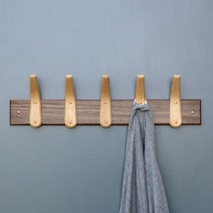 Curved Wooden Coat Hooks And Backboard