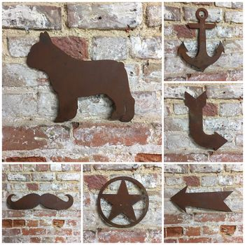 Rusty Metal Silhouette Signs Plaques