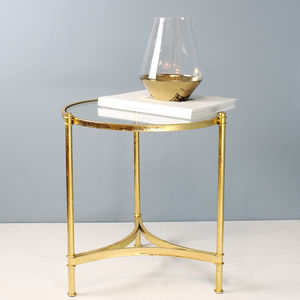 Short Gold Round Side Table - furniture