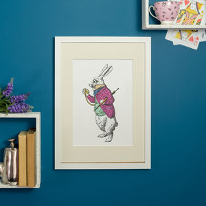 White Rabbit Alice In Wonderland Print - posters & prints