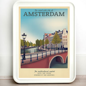 The Netherlands Amsterdam Retro Travel Print