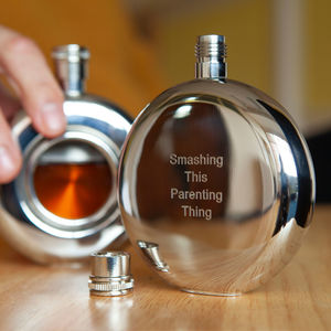 Personalised and Engraved Round Window Hip Flask - gifts for the groom