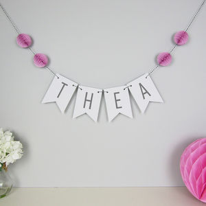 Personalised Name Bunting With Honeycomb Pom Poms - personalised gifts