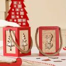 Personalised Nordic Red Christmas Candle Lanterns